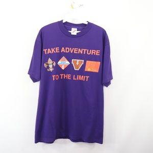 90s Jerzees Mens Large Boy Scouts T Shirt Purple